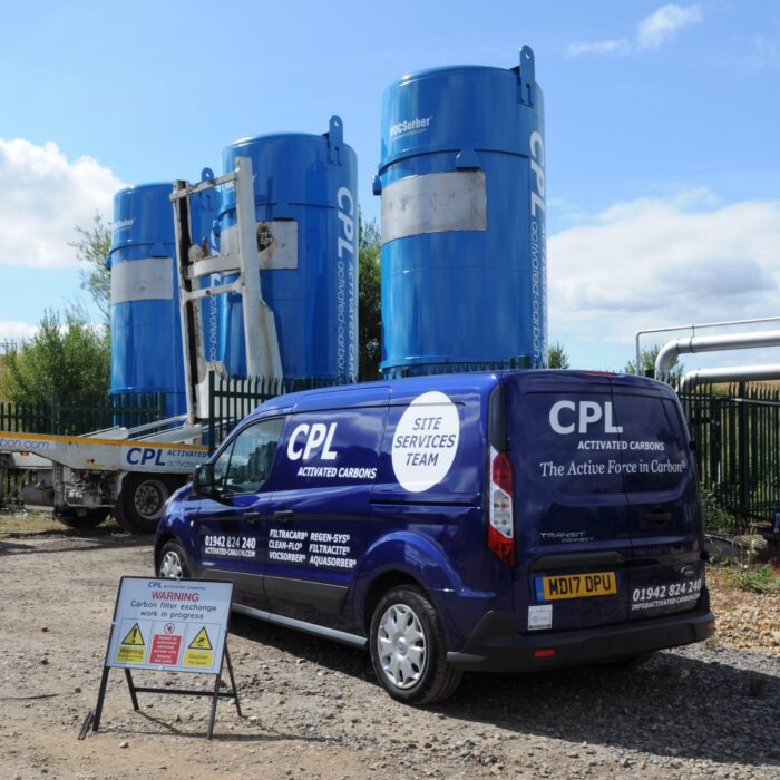 mobile carbon filters at a landfill biogas site