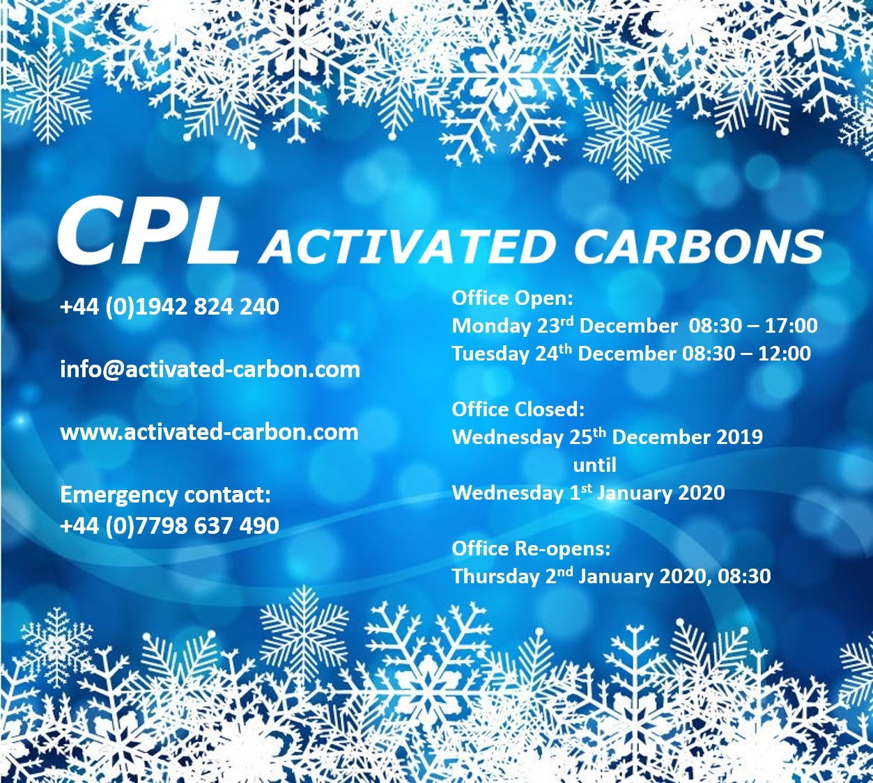 CPL Activated Carbons 2019 Christmas Opening Times