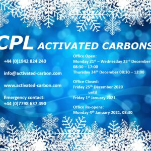 Office opening hours for CPL Activated Carbons, Christmas 2020